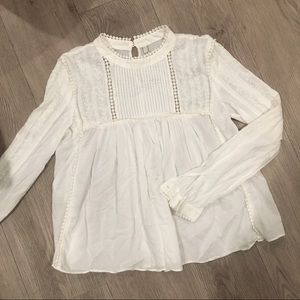 Zara Cream/White Peasant Top with Details